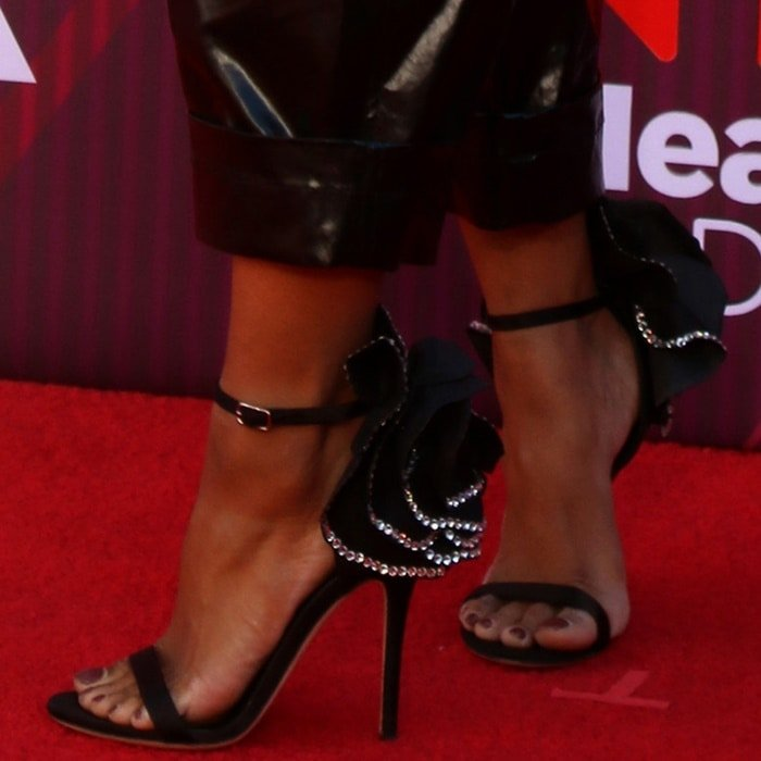 Kat Graham's sexy feet in Peony Flower sandals with application trimmed with crystals