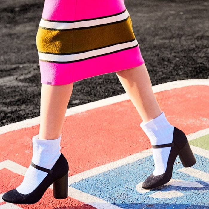 A fresh spin on schoolgirl chic, these Mary Jane heels bring new definition to back to school style with their stretch knit design and bold cylinder heel