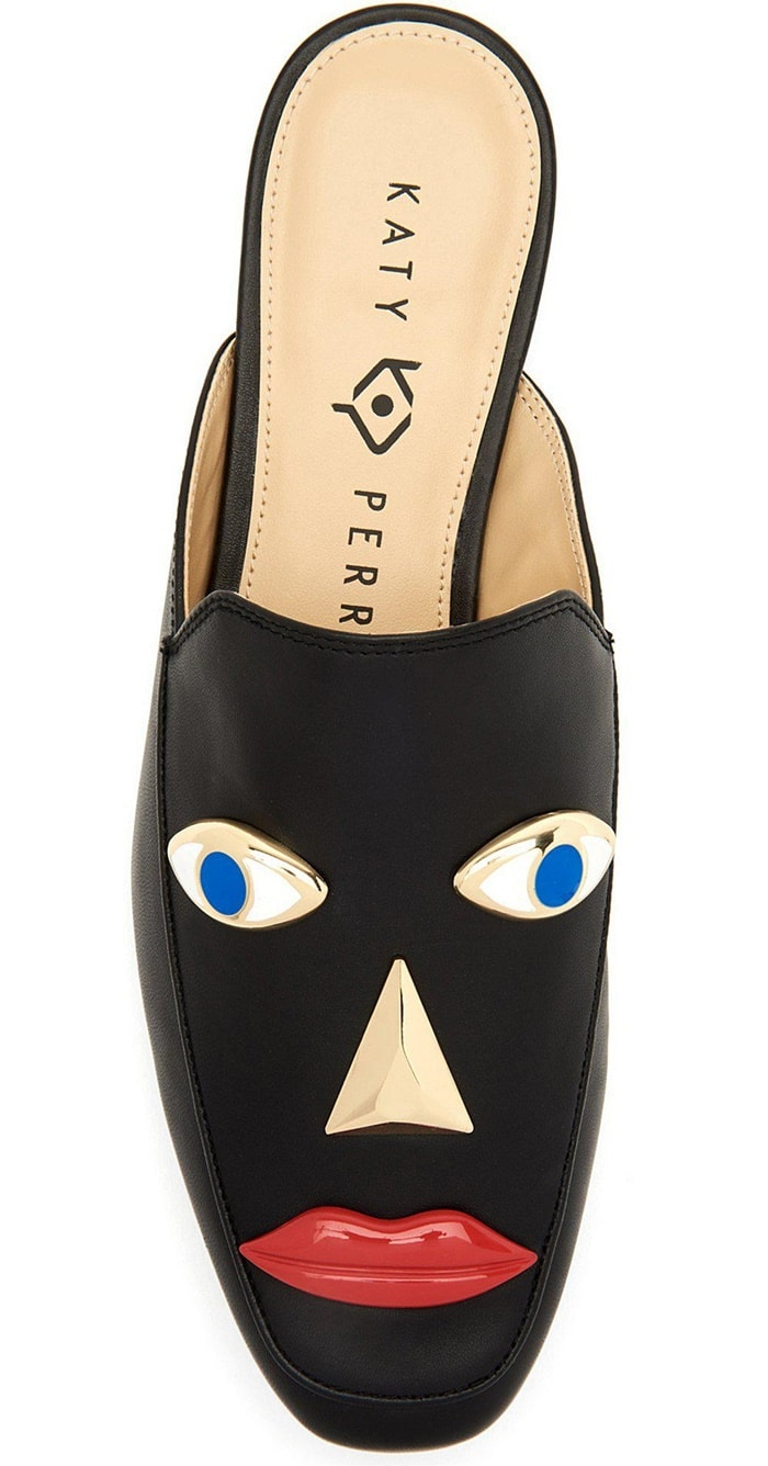 Katy Perry's blackface shoes with protruding eyes, nose, and full red lips