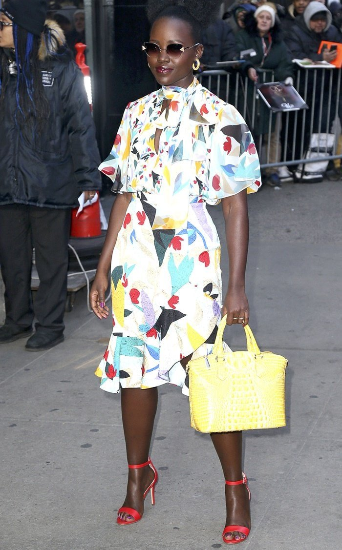 Lupita Nyong'o paraded her legs in a dress from Prabal Gurung's Pre-Fall 2019 collection