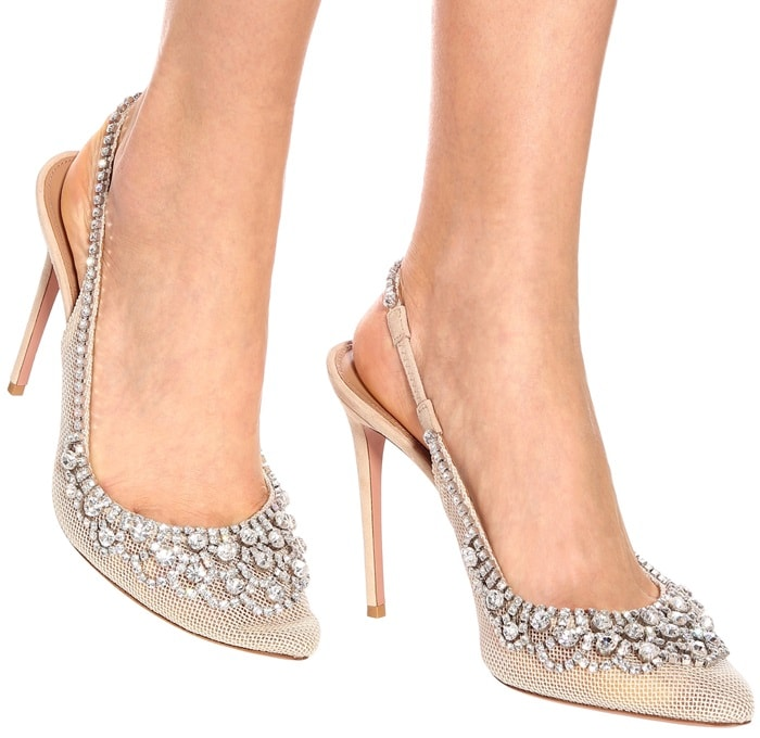 Aquazzura takes classic slingback pumps in a daringly glamorous direction with this shimmering Marahani pair