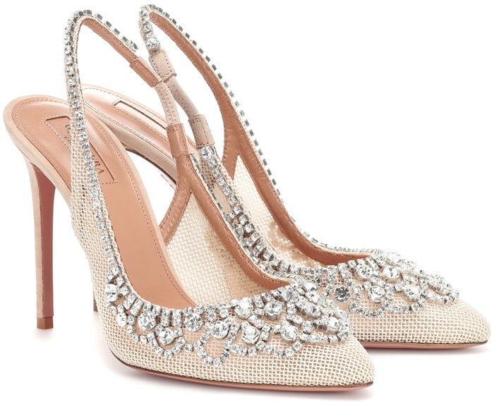 They've been crafted in Italy from pink-beige mesh and are adorned with dazzling crystals that catch the light with every step
