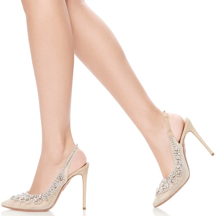 Crafted in Italy from soft mesh and buttery suede in chic nude, the Marahani Pump sits upon a leg-lengthening stiletto and is finished with a dazzling array of glamourous gems