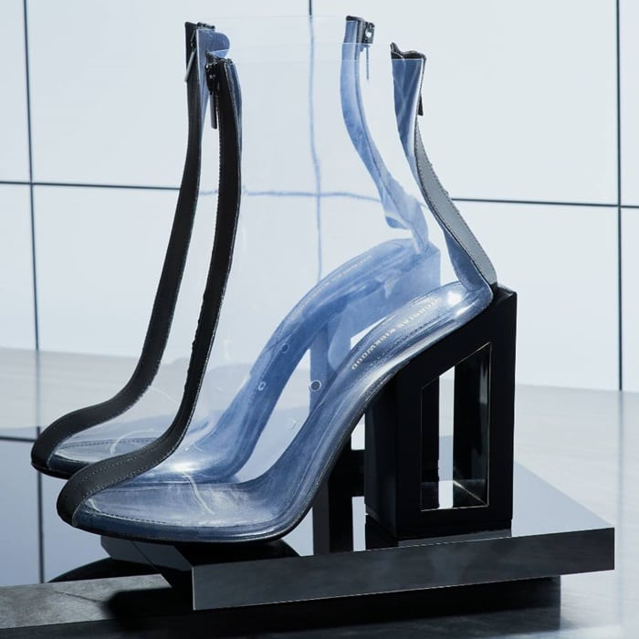 Black leather and vinyl 105 Void PVC ankle boots from Nicholas Kirkwood