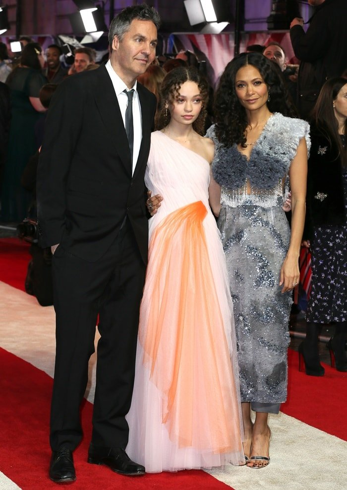 Nico Parker was joined by her actress mom Thandie Newton and director dad Ol Parker at the UK premiere of her film Dumbo at the Curzon Mayfair in London, England, on March 21, 2019