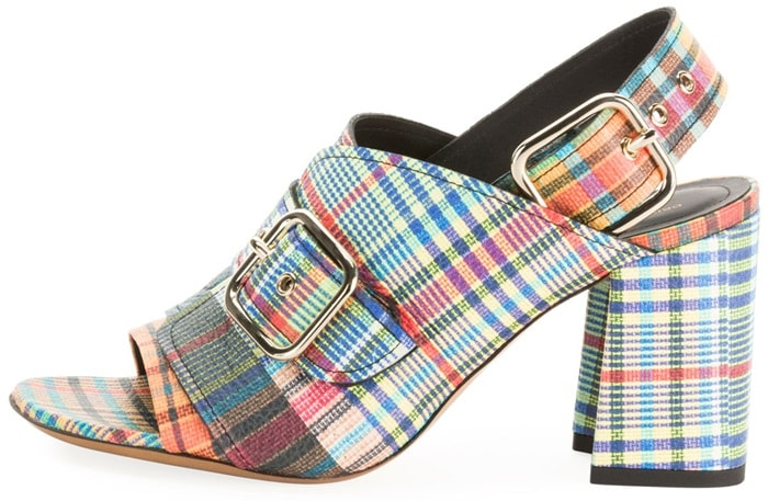 Dries Van Noten sandals in patchwork plaid printed leather