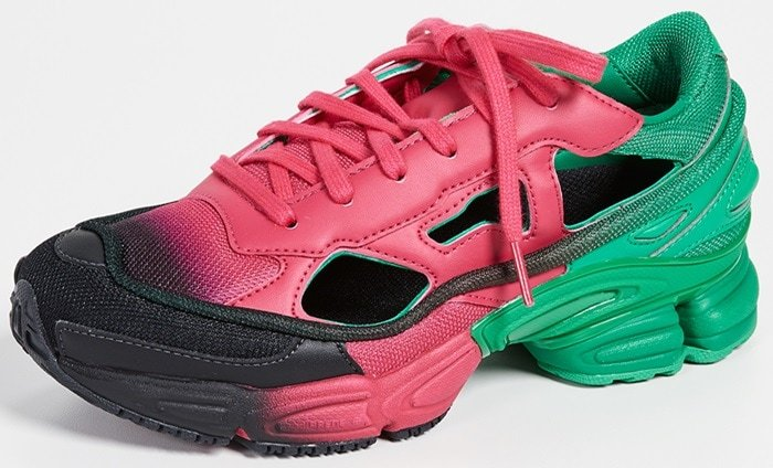 Sneakers showcasing a gradient tonal colourway of black, green and pink leather