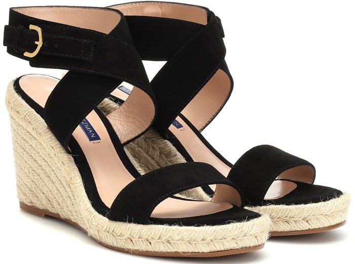 They're set on a rustic woven-jute wedge for summery allure and statement height