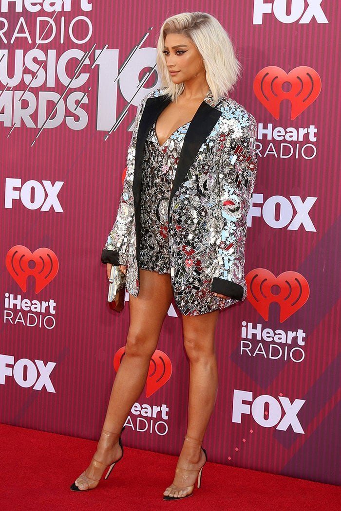 Shay Mitchell paraded her legs on the red carpet at the 2019 iHeartRadio Music Awards
