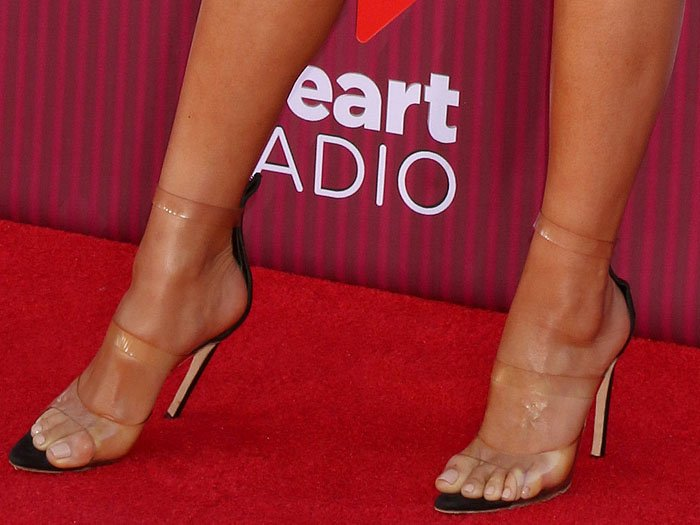 Shay Mitchell's sexy feet in Julien MacDonald clear-strap sandals