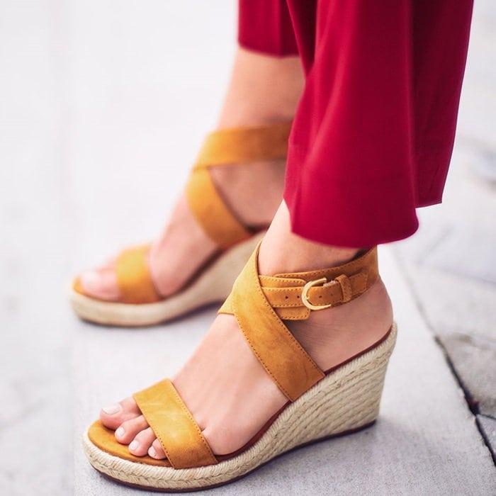 Brown Suede Lexia Wedge Espadrille Sandals