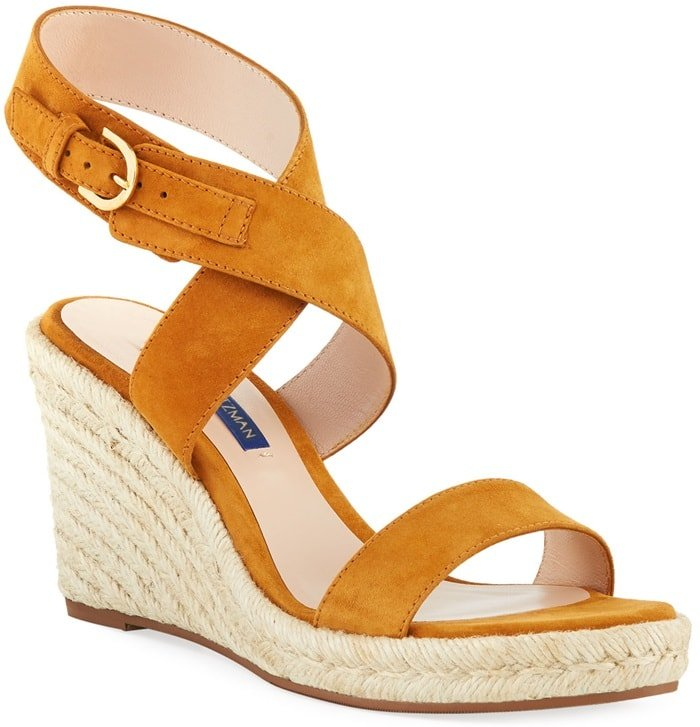These sandals are set on manageable 85mm wedge heels with sturdy platforms, making them an equally chic and comfortable choice for summer parties