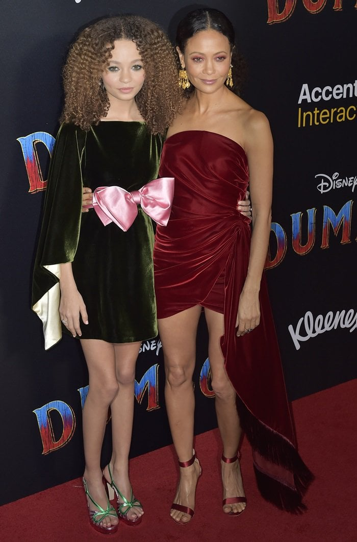 Thandie Newton and her daughter Nico Parker on the red carpet at the Dumbo world premiere at the El Capitan Theater in Los Angeles on March 11, 2019