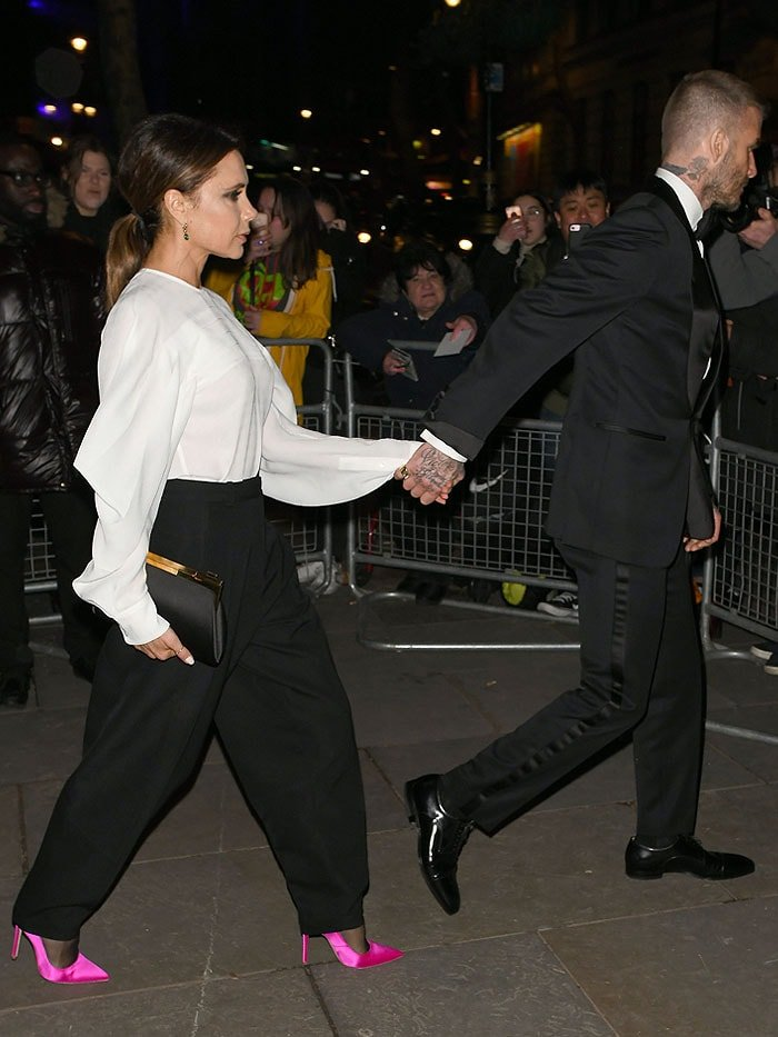 Victoria Beckham spearheading the highlighter trend that she showed plenty of in her Victoria Beckham Fall 2019 fashion show held during London Fashion Week