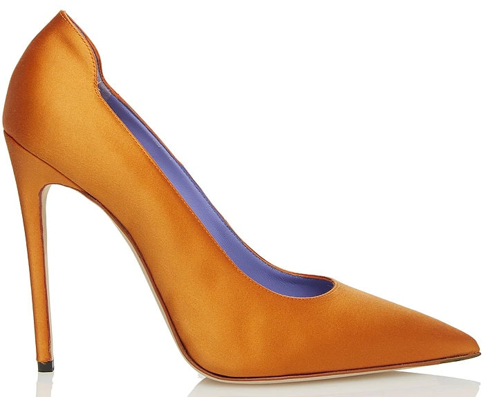 Victoria Beckham highlighter pumps orange satin