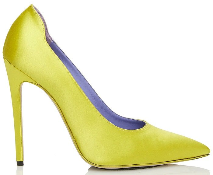 Victoria Beckham highlighter pumps yellow satin