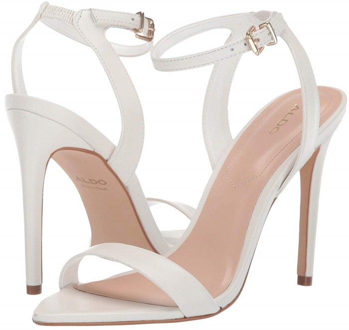 White Leather Bravyan Pointed-Toe Stiletto Heels