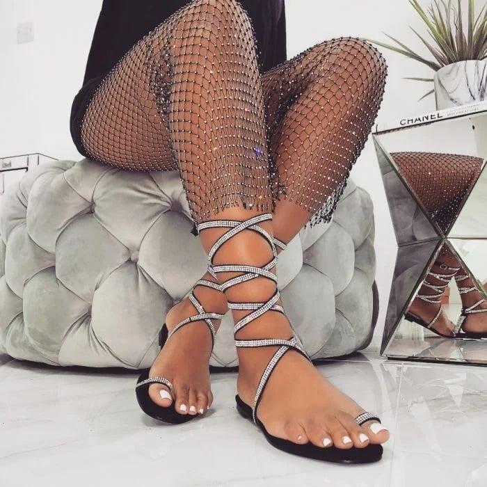 Averie Black Suede Lace Up Diamante Sandals