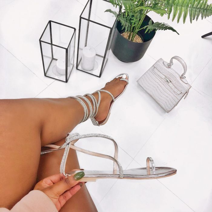 Averie Silver Lace Up Diamante Sandals