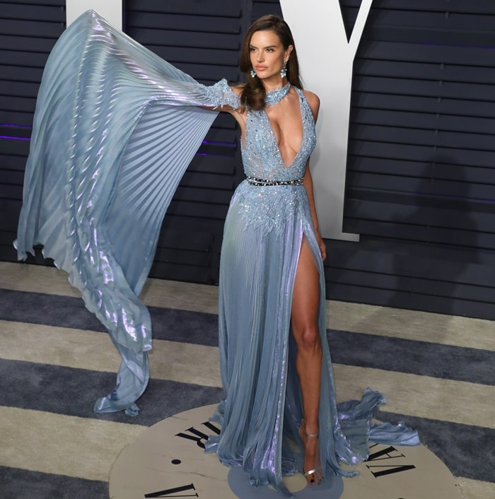 Alessandra Ambrosio in an embellished gown at the 2019 Vanity Fair Oscar Party