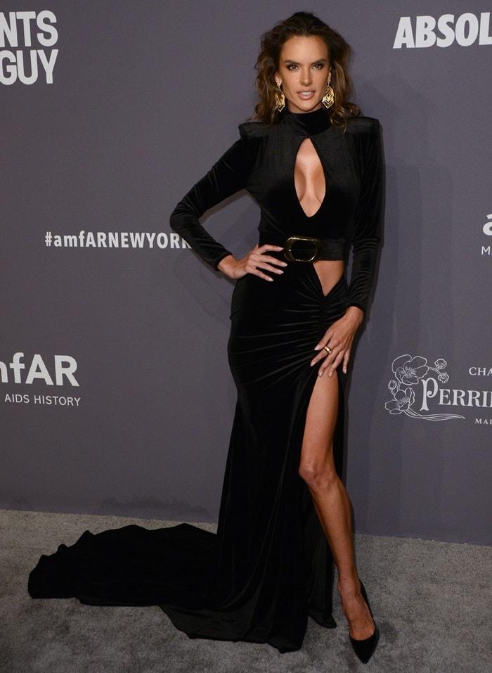 Alessandra Ambrosio's sexy Lena Berisha dress at the 2019 amfAR New York Gala held at Cipriani Wall Street in New York City on February 6, 2019