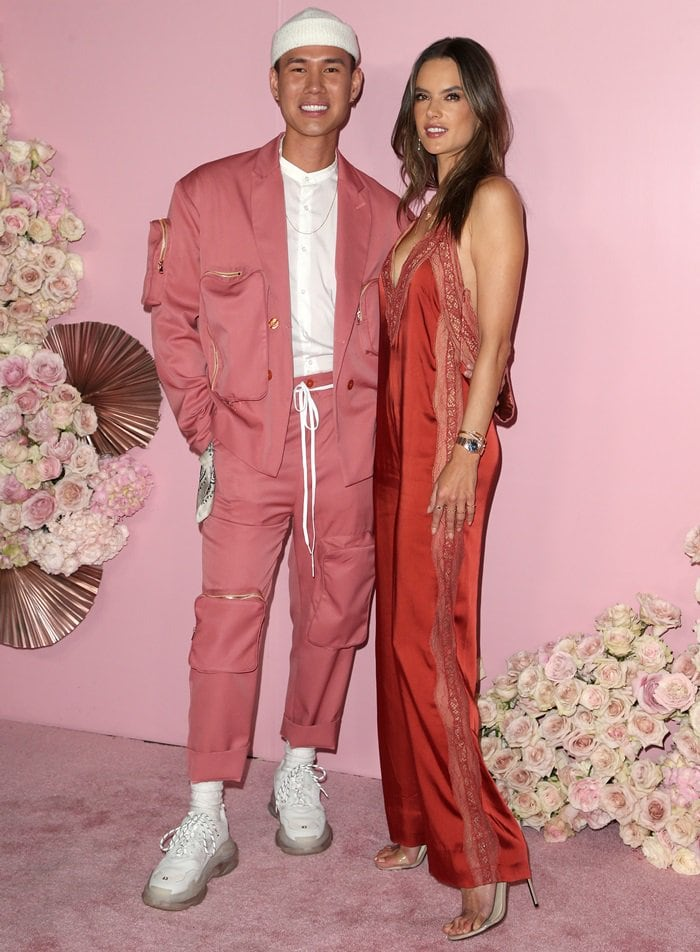 Alessandra Ambrosio and Patrick Ta at the launch of Patrick Ta's Beauty Collection at Goya Studios in Los Angeles on April 4, 2019