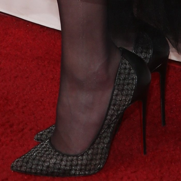 Amber Heard's black pointy stiletto heels by Christian Louboutin