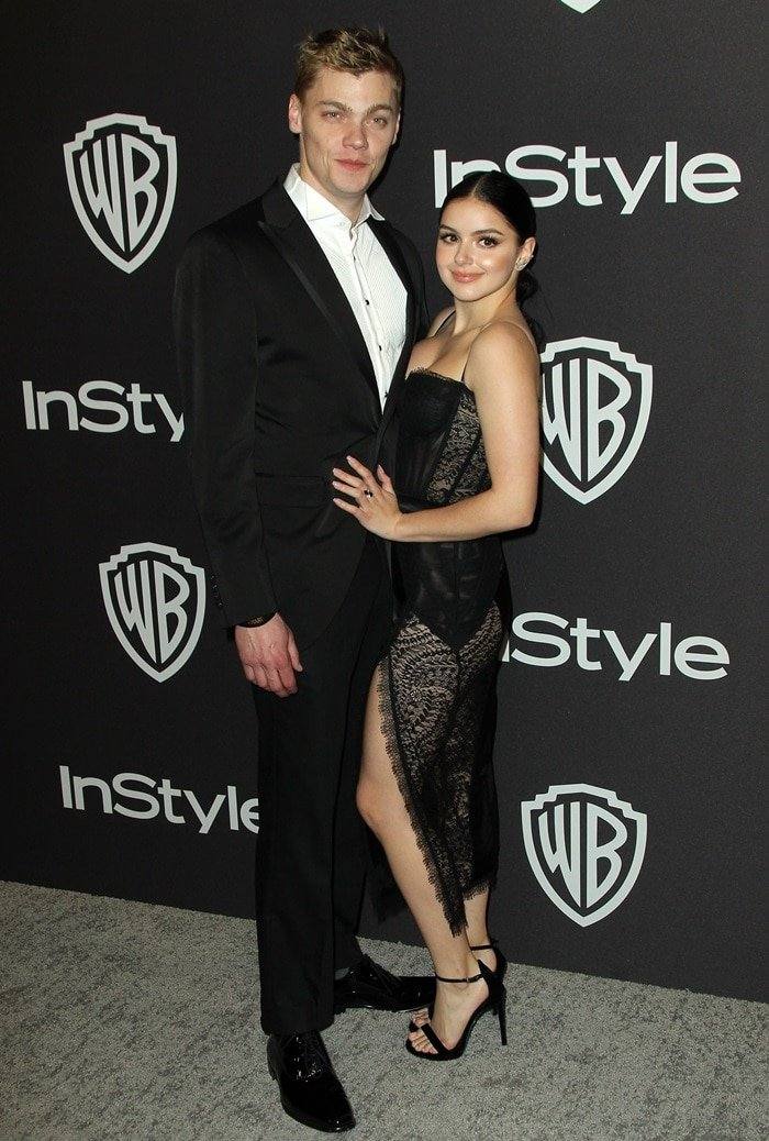 Ariel Winter posing with her boyfriend Levi Meaden at InStyle's Golden Globes After Party at the Beverly Hilton Hotel in Beverly Hills, California, on January 6, 2019