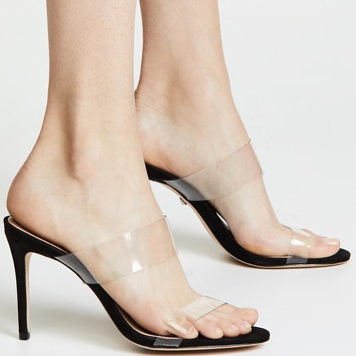 Leather upper with clear plastic side panels for two-tone look