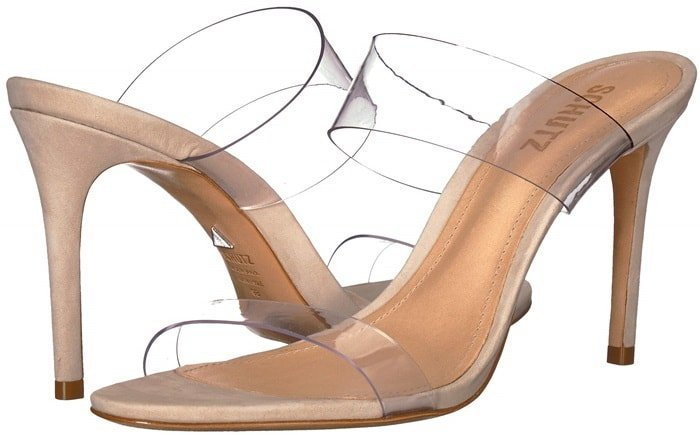 Translucent straps emulate Cinderella's glass slipper on a barely-there shoe you'll wear past midnight