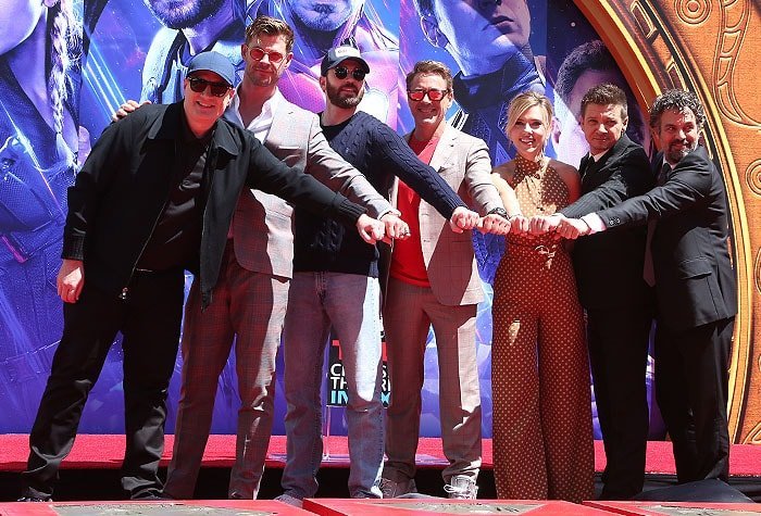 Marvel Studios' Avengers: Endgame producer and cast at their handprint ceremony