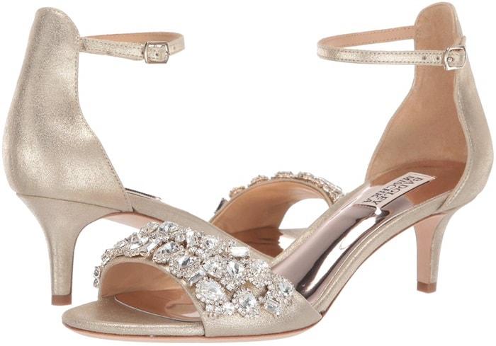 Platinum Metallic Suede Lara Crystal Embellished Sandals