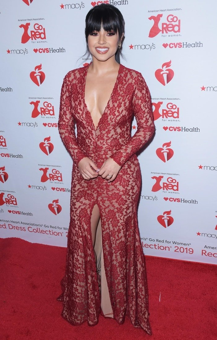 Becky G sparkled in a Stello gown at The American Heart Association's Go Red for Women Red Dress Collection