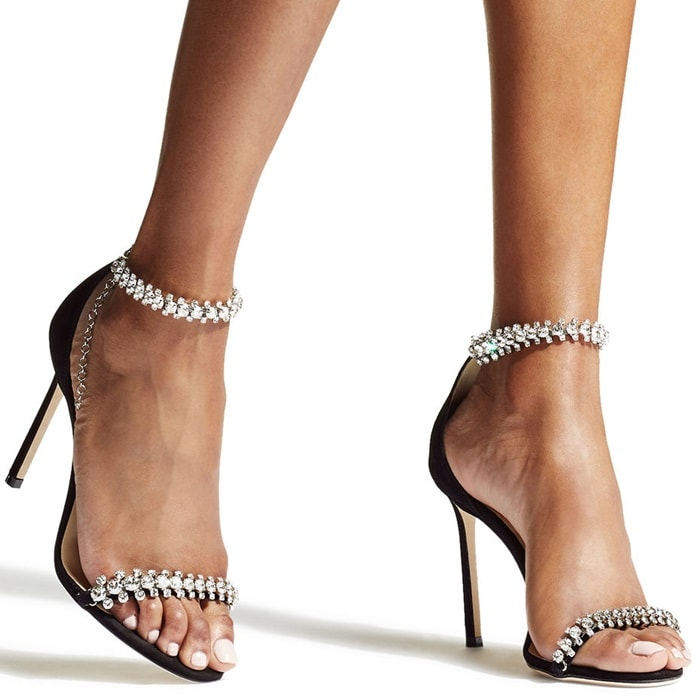 JIMMY CHOO Shiloh 85 embellished suede sandals
