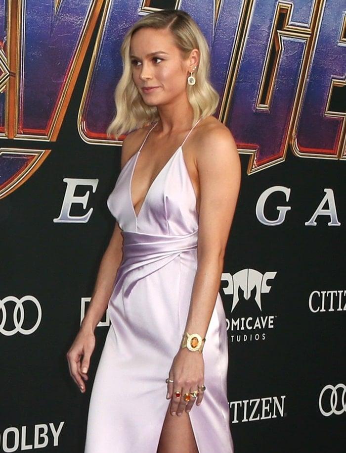 Brie Larson wore a custom plunging, full-length Celine dress