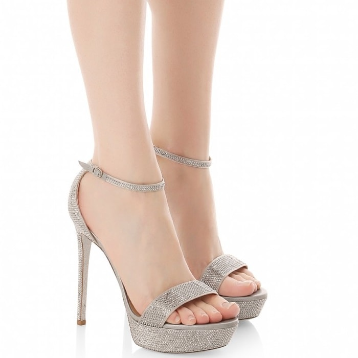 Ankle strap with side buckle and visible platform