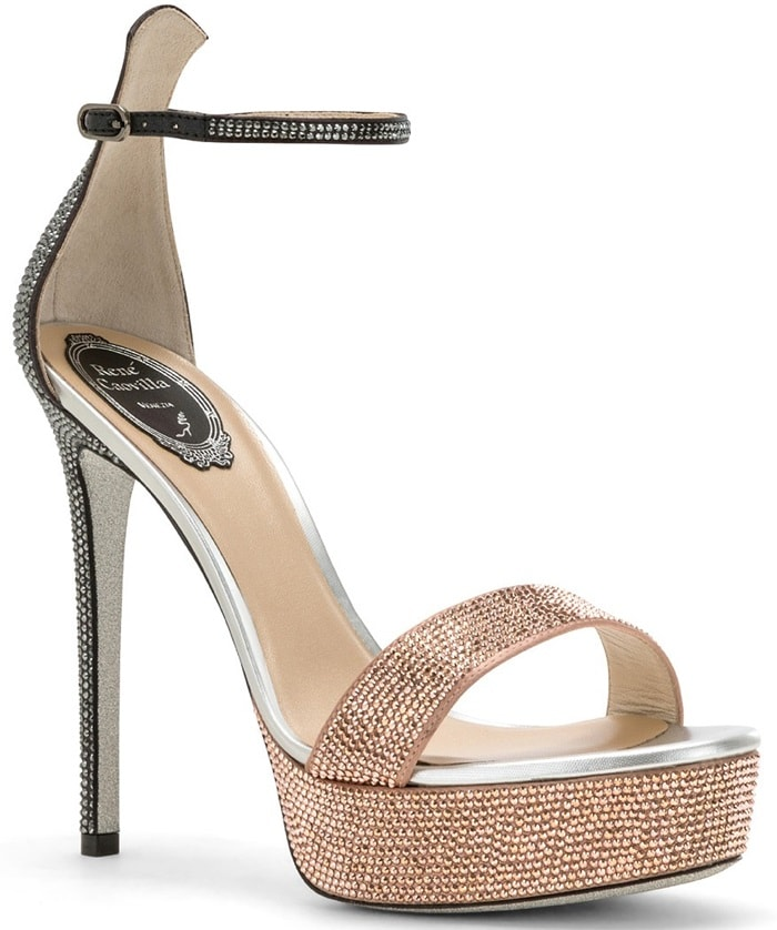 Two-tone satin sandals in grey and nude studded with tone-on-tone rhinestones