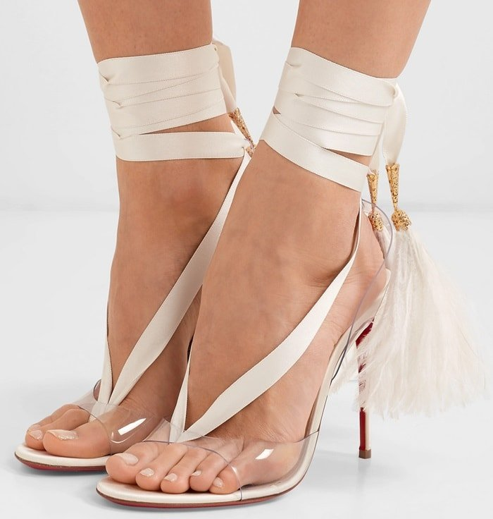 A great choice for glamorous and modern brides, this high-heeled pair has been made in Italy from lustrous white satin and have transparent PVC toe straps