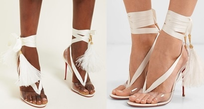 6a4eb9fb8 Feather-Trimmed Satin and PVC Marie Edwina Sandals by Louboutin