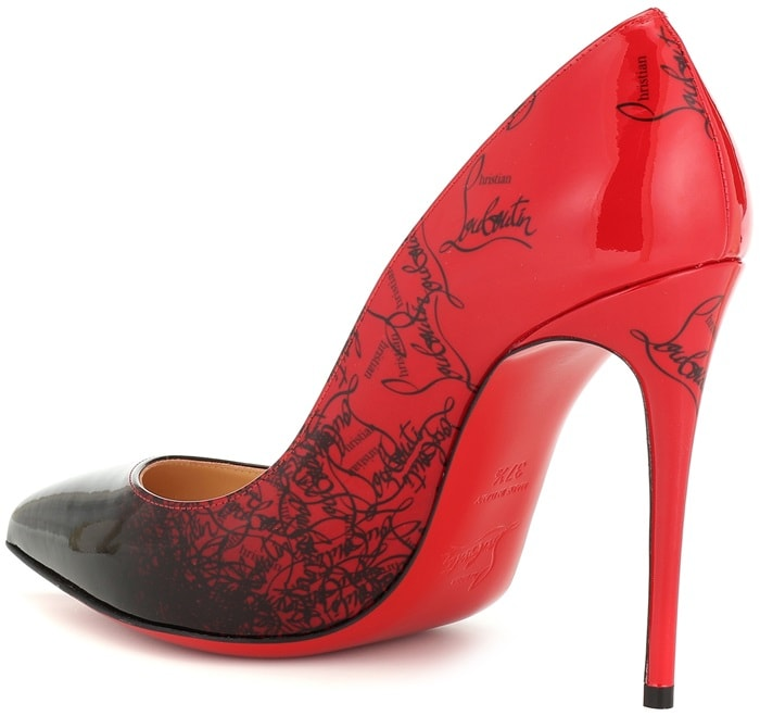 Walk high in these 100mm stilettos, naturally adorned with the telltale red painted sole and pointed toe.