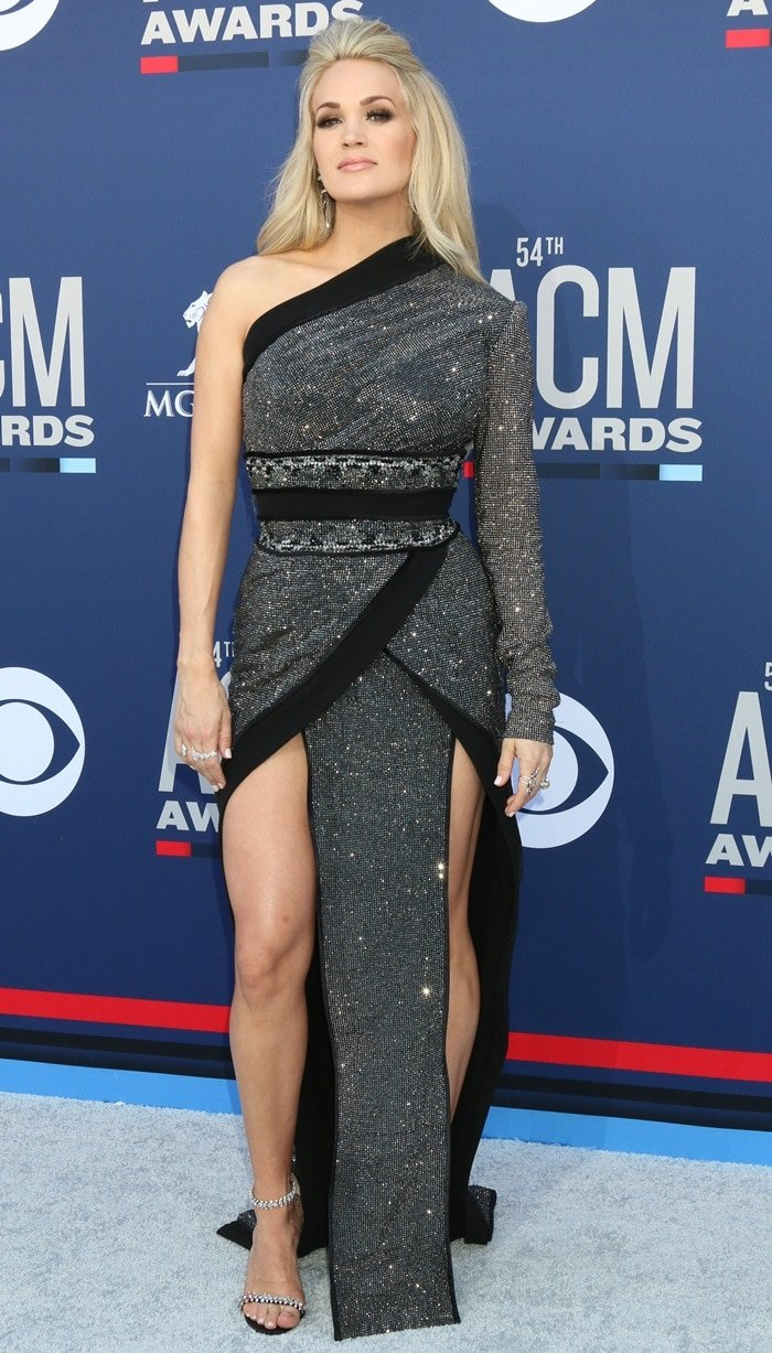Carrie Underwood's diamond embroidered Nicolas Jebran one-shoulder dress