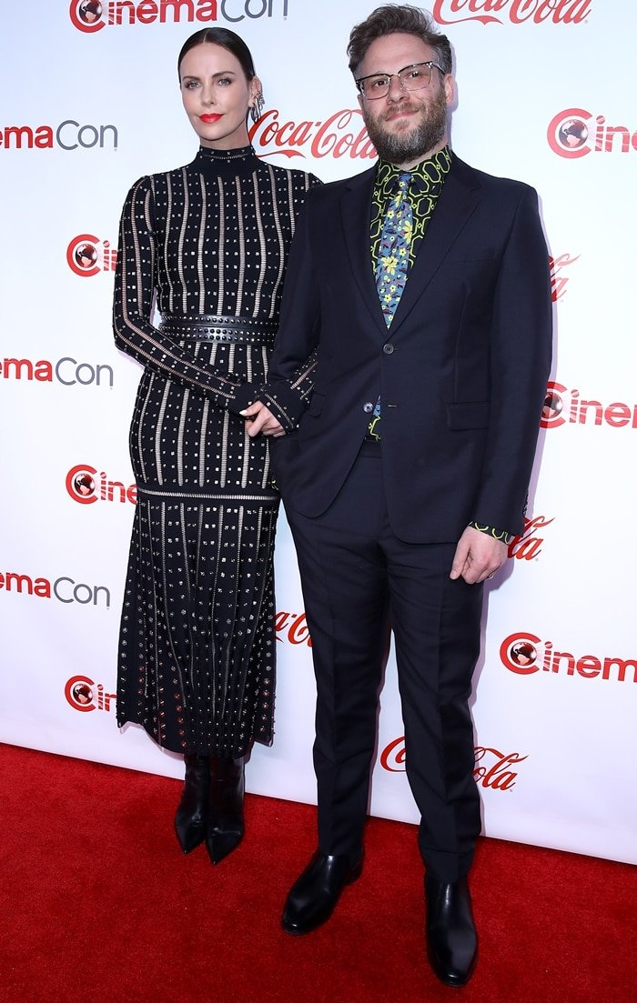 Charlize Theron and Seth Rogen received the Comedy Stars of the Year award at the 2019 CinemaCon Awards at The Colosseum at Caesars Palace in Las Vegas on April 5, 2019