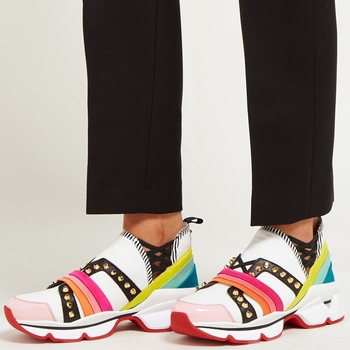 Christian Louboutin revamps its chunky 123 Run trainers in this white style accented by rainbow-hued satin trim