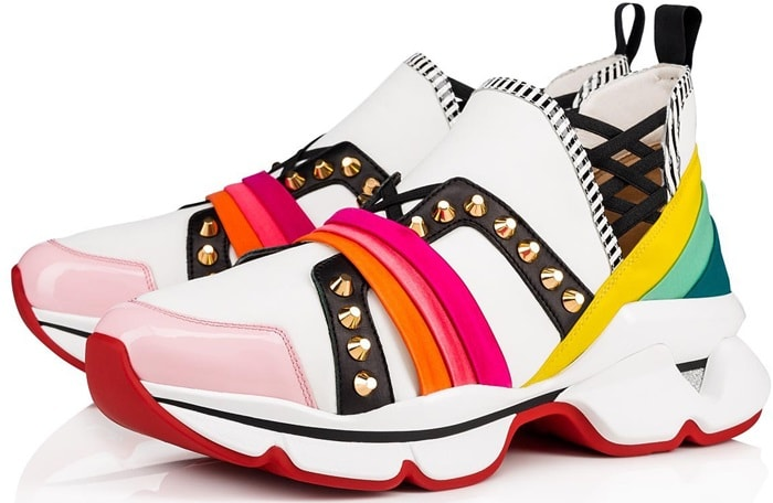 Christian Louboutin colorblock sneakers in rainbow satin and smooth/patent leather