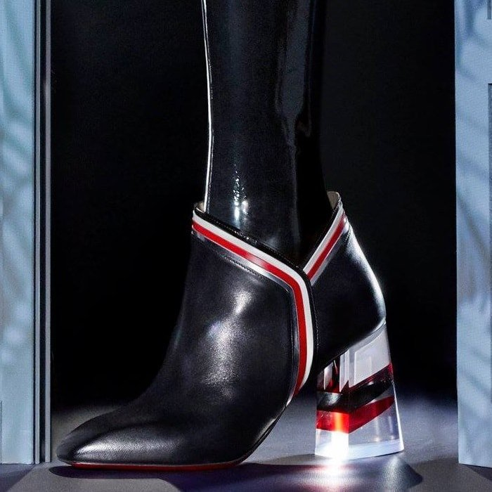 Black Raniboot 85 Plexi-Heel Red Sole Booties