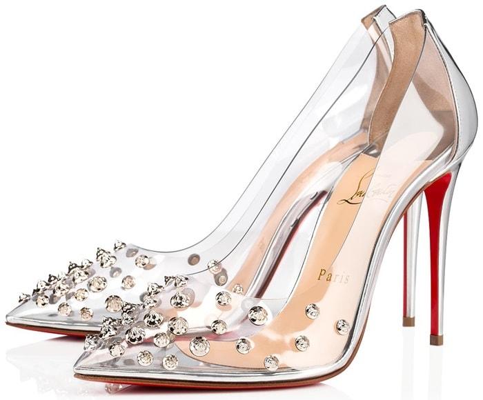 Silver specchio leather adorns the sensational 100mm stiletto heel, counter and insole.
