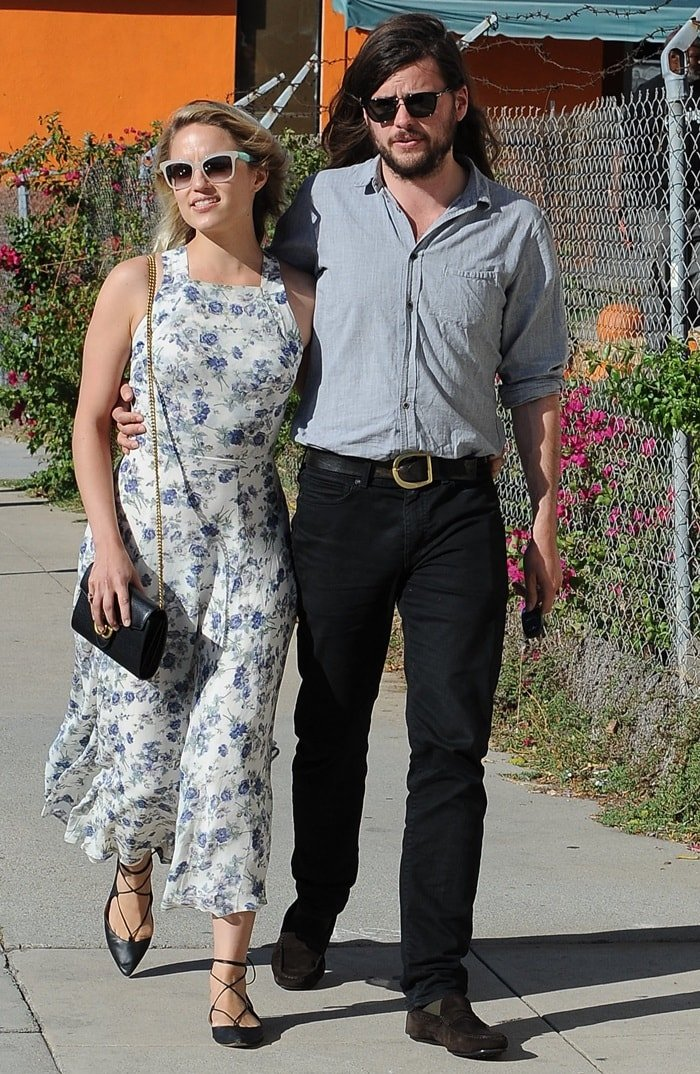 Dianna Agron and Winston Marshall outside Gratitude Cafe on Larchmont Boulevard