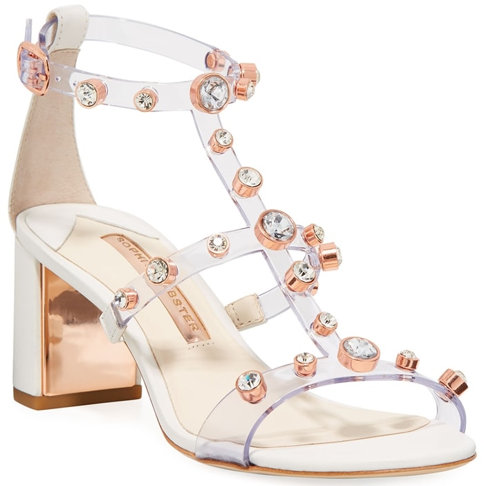Sophia Webster sandals in clear, crystal-studded vinyl and leather