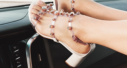 4de51e49b23 Dina Sandals in Clear Crystal-Studded Vinyl and Leather