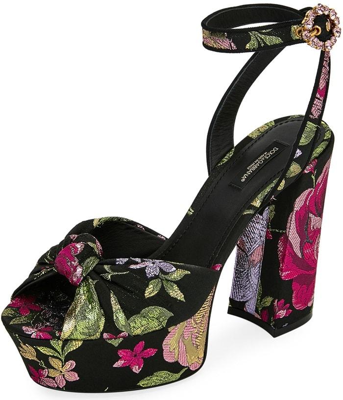 Black Pattern Floral Jacquard Platform Sandals